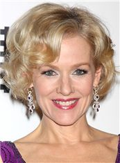 Exclusive Judy Greer Hairstyle Short Wavy Full Lace Human Wigs