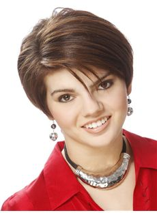 Newest Carolyn Hennesy Short Straight Full Lace Real Human Hair Wigs