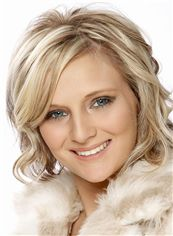 Shiny Charlize Theron Hairstyle Short Wavy Full Lace Human Wigs
