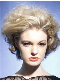 Trendy Short Wavy Full Lace Remy Hair Wigs