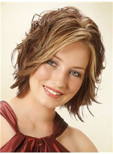 Admirable Short Wavy Full Lace Real Human Hair Wigs