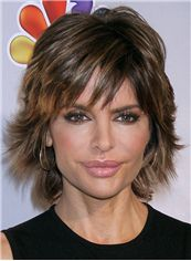 Comely Gayle King Hairstyle Short Wavy Capless Remy Hair Wigs