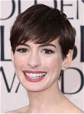 Luscious Anne Hathaway Hairstyle Short Straight Full Lace Human Wigs