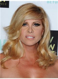 Glamorous Kesha Hairstyle Medium Wavy Capless Human Hair Wigs