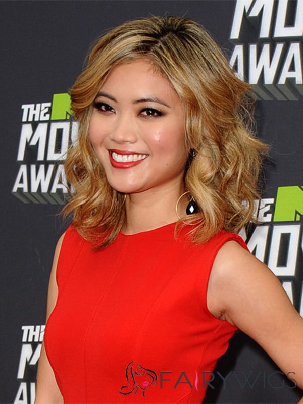Julianne Hough Hairstyle Medium Wavy Full Lace Remy Hair Wigs