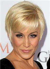Shiny Mandy Moore Short Straight Full Lace Real Human Hair Wigs