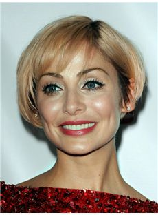 Mariella Frostrup Hairstyle Short Straight Full Lace Remy Hair Wigs