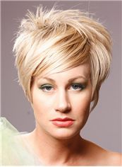 Fair Short Straight Capless Synthetic Hair Synthetic Wigs