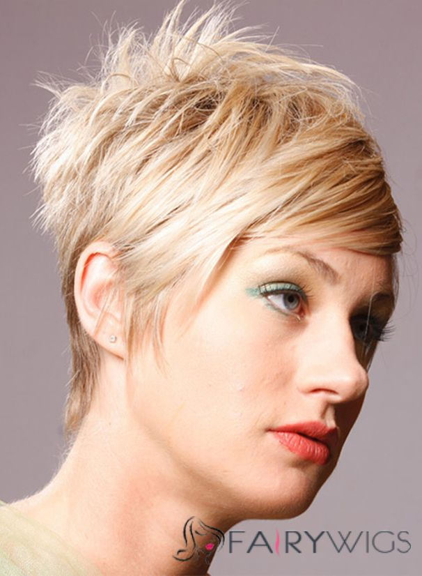 Fair Short Straight Capless Synthetic Hair Synthetic Wigs