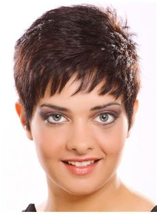 Flowing Short Straight Full Lace Human Hair Wigs