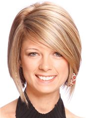 Lisa Brown Hairstyle Short Straight Full Lace Remy Hair Wigs