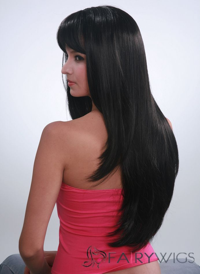 Capless Classic 24 Inch Black Straight Kanekaron Synthetic Wigs