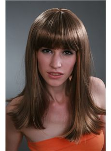 Free 16 Inch Chocolate Straight Kanekaron Synthetic Wigs