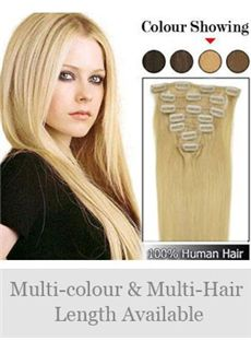 7 Pcs from 12'-30' Straight Human Hair Clip In Full Head Set