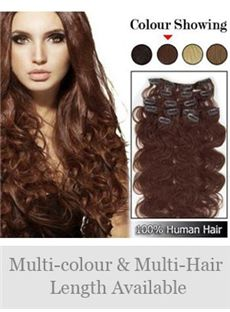 7 Pcs 12'-30' Wavy Human Hair Clip In Full Head Set