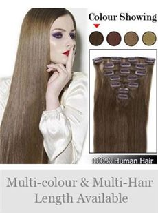 7pcs 12'-30' Straight Human Hair Clip In Full Head Set