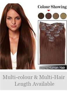 12'-30' Straight Human Hair Clip In Full Head Set