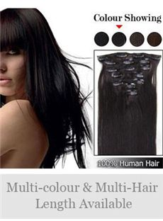 7pcs 12'-30' Straight 100% Human Hair Clip In Full Head Set