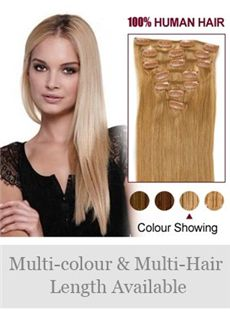 7 Pcs 12'-30' Straight 100% Human Hair Clip In Full Head Set