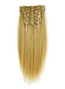 12'-30' Straight 100% Human Hair Clip In Full Head Set