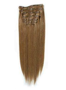 High Quality 12'-30' Straight Human Hair Clip In Full Head Set