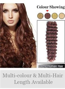 High Quality 12'-30' Deep Wave Indian Remy Weft Extensions