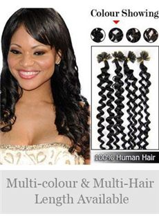 High Quality 12'-30' 100% Curly Nail Tip Human Hair Extensions