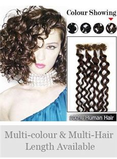 12'-30' 100% Deep Curly Nail Tip Human Hair Extensions