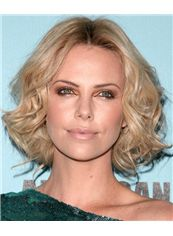 12 Inch Wavy Blonde Charlize Theron Full Lace 100% Human Wigs