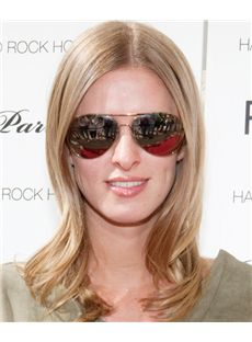 16 Inch Wavy Blonde Nicky Hilton Full Lace 100% Human Wigs
