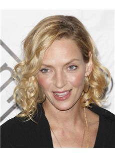 12 Inch Wavy Blonde Uma Thurman Full Lace 100% Human Wigs