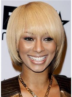 Keri Hilson 10 Inch Straight Blonde Capless 100% Human Wigs