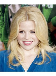 16 Inch Wavy Megan Hilty Lace Front Human Wigs