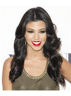 18 Inch Wavy Natural Black Kourtney Kardashian Full Lace 100% Human Wigs