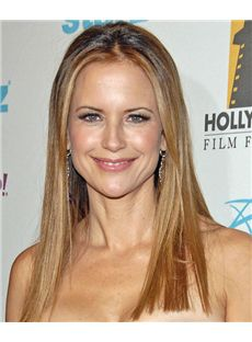 18 Inch Straight Kelly Preston Lace Front 100% Human Wigs