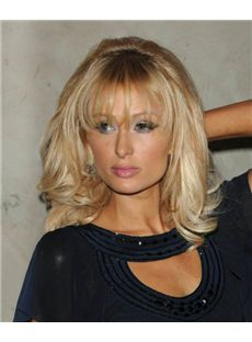 14 Inch Wavy Blonde Paris Hilton Full Lace 100% Human Wigs