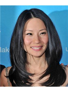 16 Inch Wavy Natural Black Lucy Liu Full Lace 100% Human Wigs