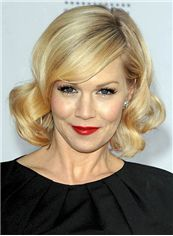 12 Inch Wavy Blonde Jennie Garth Human Hair Lace Front Wigs