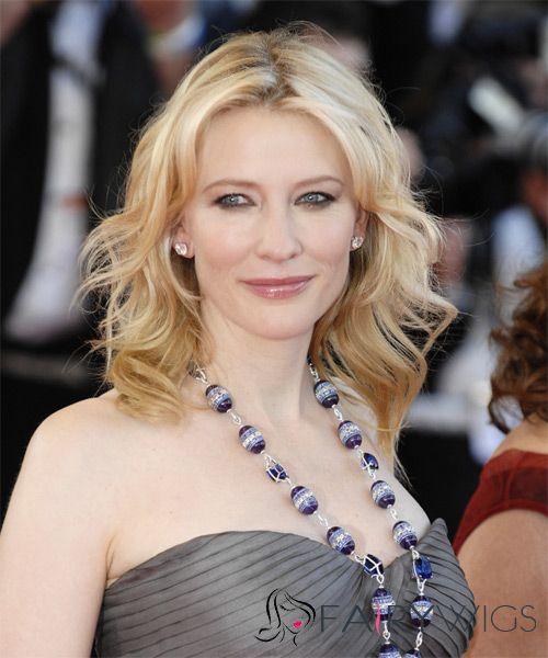 14 Inch Wavy Blonde Cate Blanchett Full Lace 100 Human Hair Wigs