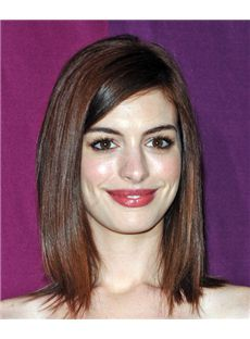 14 Inch Straight Anne Hathaway Lace Front Human Wigs