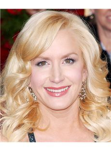 16 Inch Wavy Blonde Angela Kinsey Lace Front Human Wigs