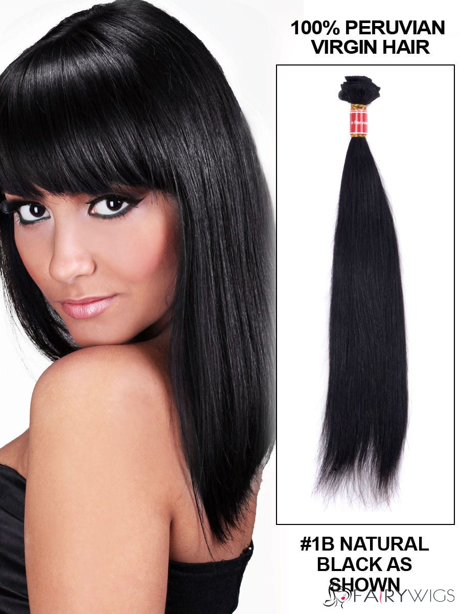 12 30 Inches Straight Peruvian Virgin Hair Extension Weft
