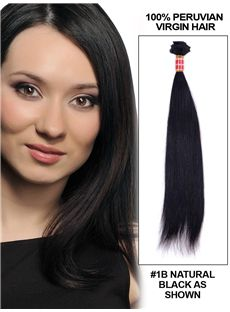 12'-30' Straight Peruvian Virgin Hair Extension Weft - Natural Black