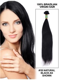 Cheap 12'-30' Straight Brazilian Virgin Hair Extension Weft - Natural Black