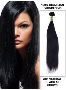 12'-30' Straight Brazilian Virgin Hair Extension Weft - Natural Black