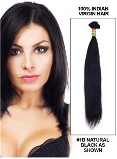 12'-30' Straight Indian Virgin Hair Extension Weft - Natural Black