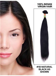 12'-30' Straight Indian Remy Hair Extension Weft - Natural Black