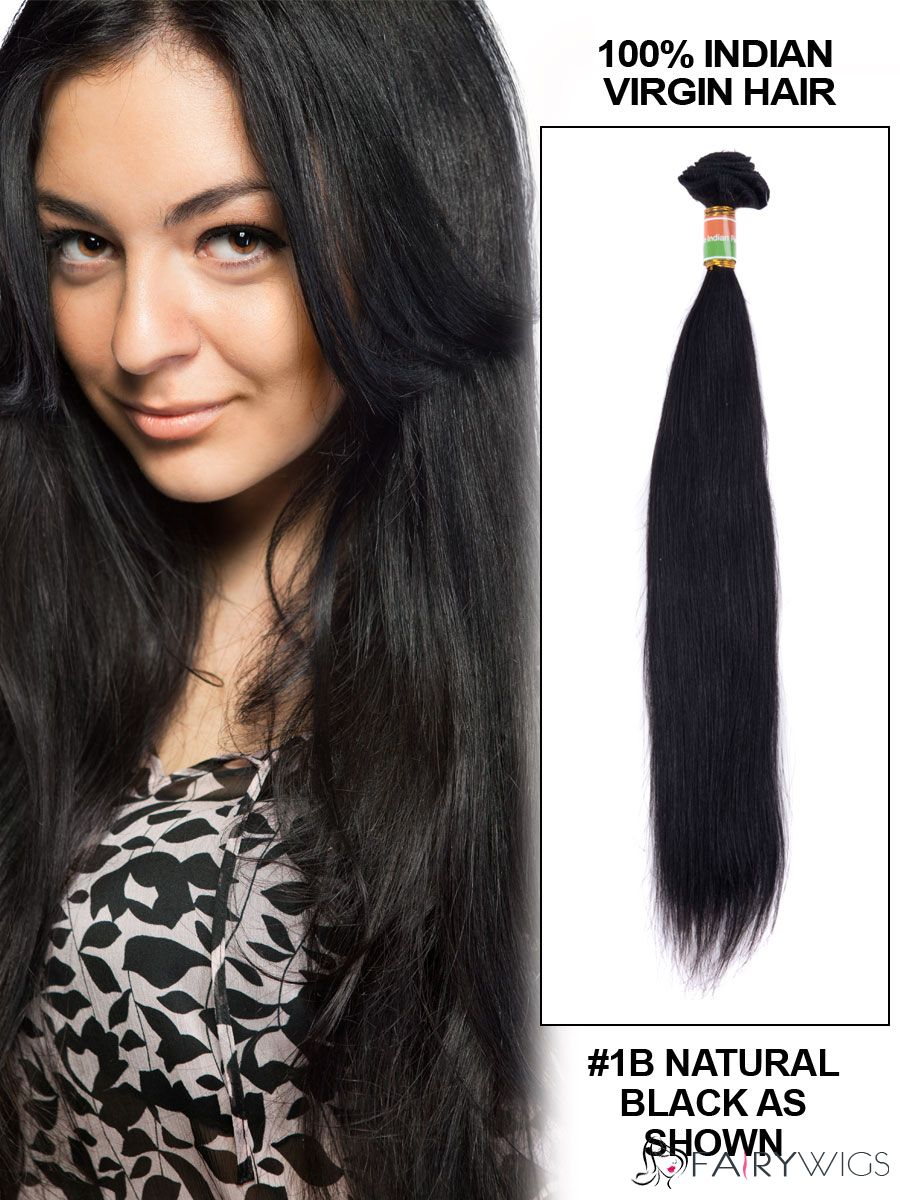 22 Straight Indian Remy Hair Extension Weft Natural Black