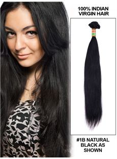 22 Straight Indian Remy Hair Extension Weft - Natural Black