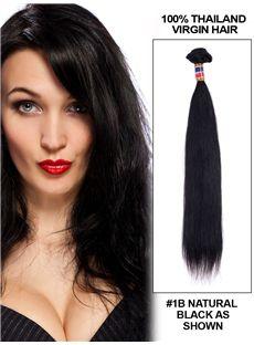 12'-30' Straight Thailand Virgin Hair Extension Weft - Natural Black